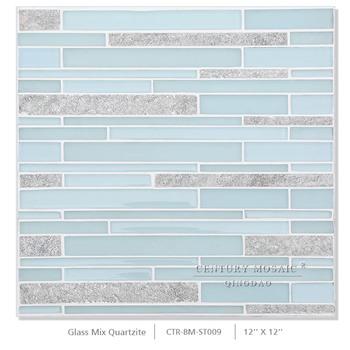Verde Blu Striscia Di Vetro Mattonelle Di Mosaico Per Il Bagno