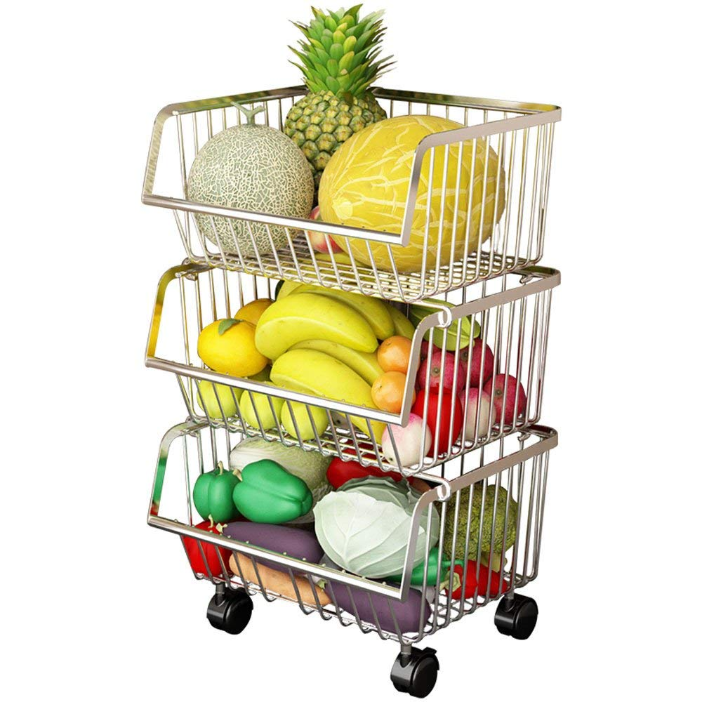 EMMA HOME Storage Rack 3 Layer Slide-out Stainless Steel Kitchen Floor Storage Tower Fruit Vegetable Basket Shelf Bathroom Storage Storage Basket Size 413569cm