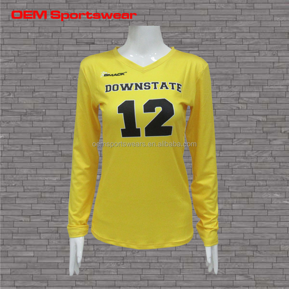 High quality long sleeve custom design volleyball uniforms for girls