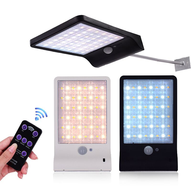48LED Outdoor Solar Light Solar Outdoor Lamp Motion Sensor with Remote Control and 7 Adjustable Color for Patio, Deck