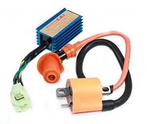 LUO Ignition CDI Box + Coil Replacement Set Fit For 49cc, 50cc, 60cc, 70cc, 72cc, 82cc, 90cc, 100cc, 110cc, 125cc, 150cc Chinese scooters, mopeds, dirt bikes, go karts, ATV,139qmb, 139qma, 152qmi, 152qmj, 157qmi, 157qmj motors