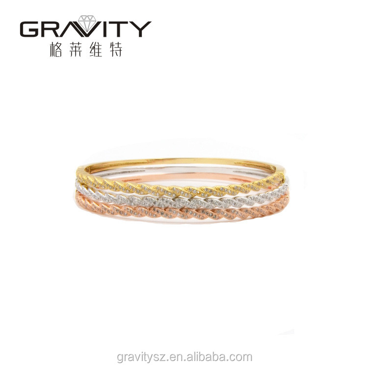 Wholesale latest simple designed fashion 18K gold plated Bangles and bracelets