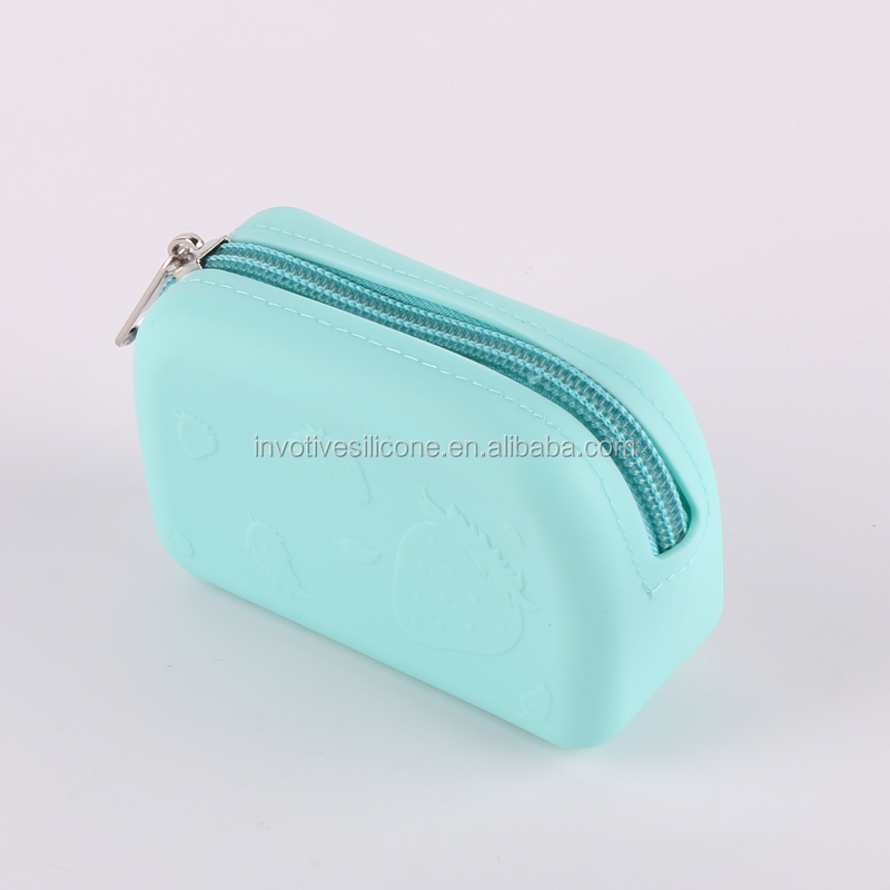 Promotional custom logo waterproof silicon coin purse set cute wallet for girls