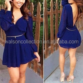 Busana baru panas seksi deep v-neck dress backless elegan mini dress sifon pesta prom gaun koktail