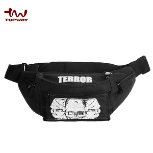 Nylon Custom Print Fanny Pack Men's Black Belt Waist Bag