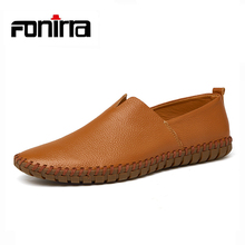 High Quality Casual Men Shoes Flat Suture Mens Soft Sole Shoes Loafer Men Shoes Genuine Leather