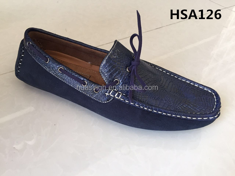 slip on loafer shoes blue PU leather upper fashion Moccasins shoes for men