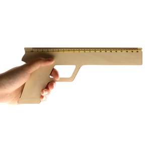 Office Gadget Rubber Band Wooden Ruler Gun Rubber Band Shooter Rulers Cheap Novelty Gifts