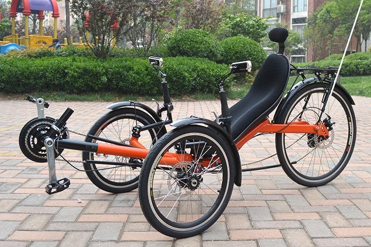Adult 3 wheel recumbent bike three wheel folding bike for Recumbent bike with electric motor