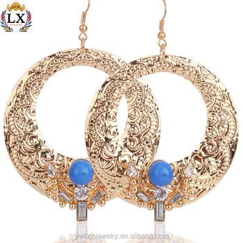 Elx 00010 Bulk Hoop Arabic Gold Earring Designs Women Statement Indian Earrings