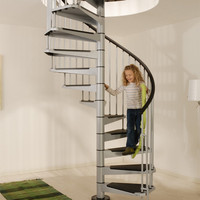 Strong Spiral staircase/escalier carbon steel baking painted matt black surface