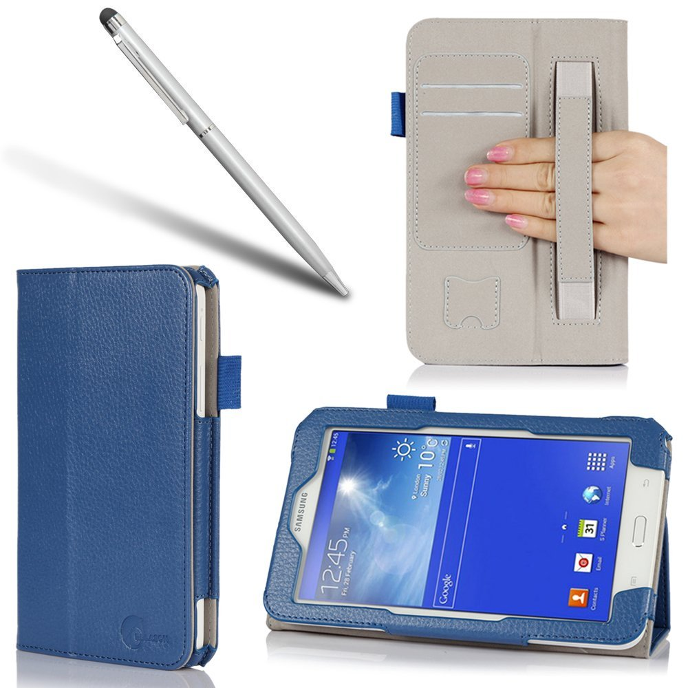 i-Blason Samsung Galaxy Tab 3 8.0 Auto Wake / Sleep Slim Book Stand Case Cover Wifi 4G LTE (One Year Warranty) (Blue)
