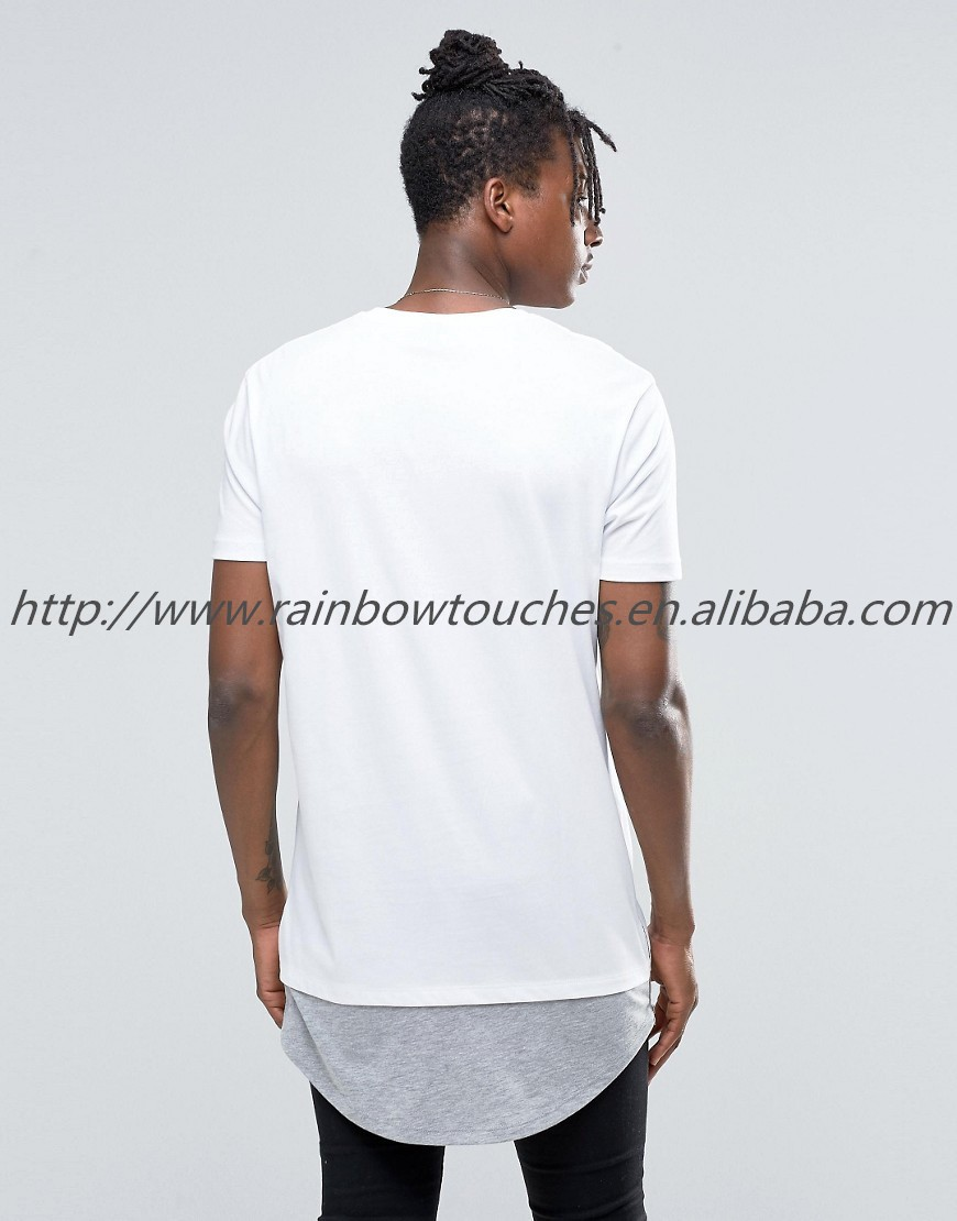 Wholesale 2015 Curved Bottom Plain Gray Long Line T Shirt Men ...
