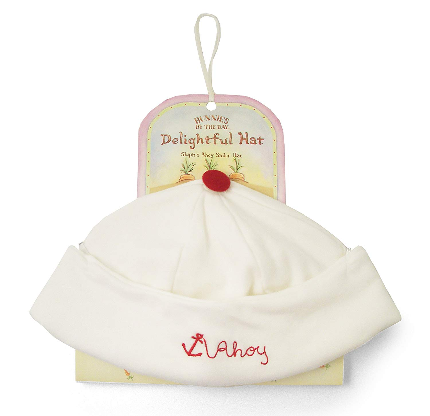 Bunnies by the Bay Unisex-Baby Ahoy Sailor Hat, White, 6-12 Months