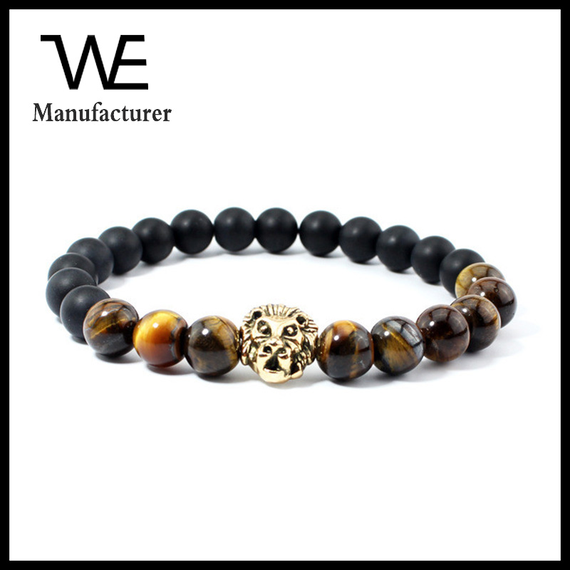 Men Jewelry Wholesale 8mm Natural Tiger Eye And Matte Onyx Stone Beads Lion Head Bracelets