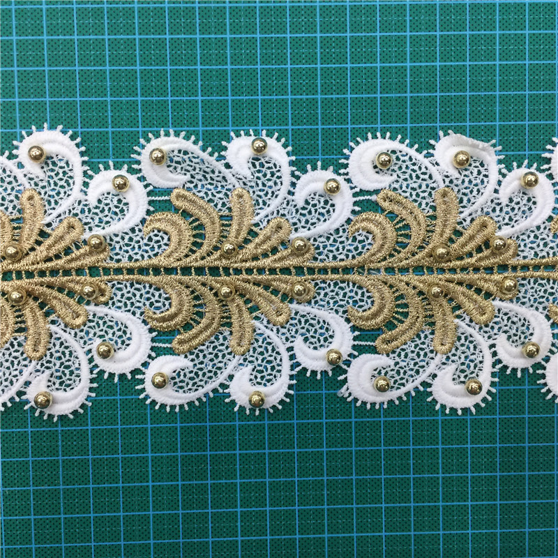 Bridal Beaded Heavy NigerianEmbroidery Net Lace trim Fabric With beaded