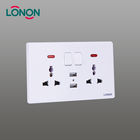 Twin Universal Wall Switched Socket with USB