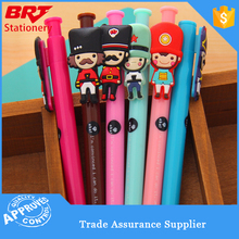 Cute soft PVC sticker ballpoint pen for kids