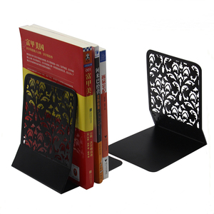 EasyPAG fancy design Hollow flower shape black metal bookends