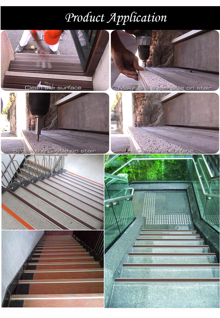 Easy Installation PVC Strips Vinyl Floor Stair Nosing For Stair Protection