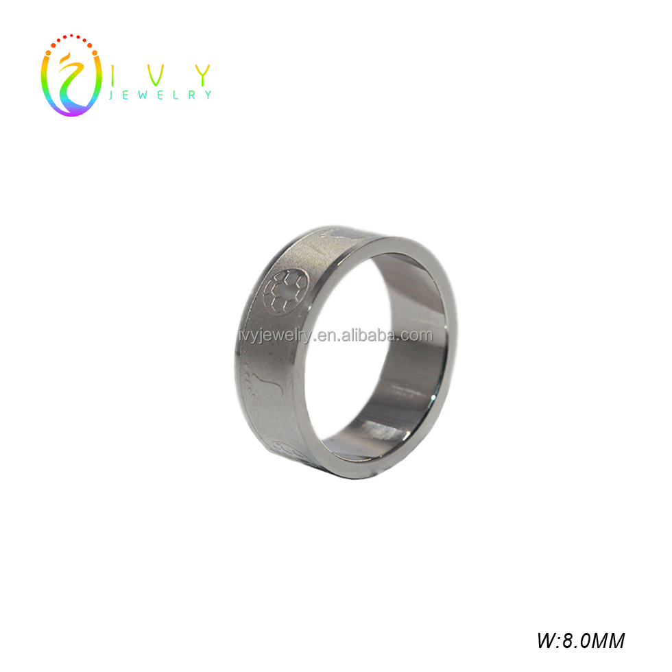 IJZ003 STAINLESS STEEL ENGRAVING FOOTBALL RING