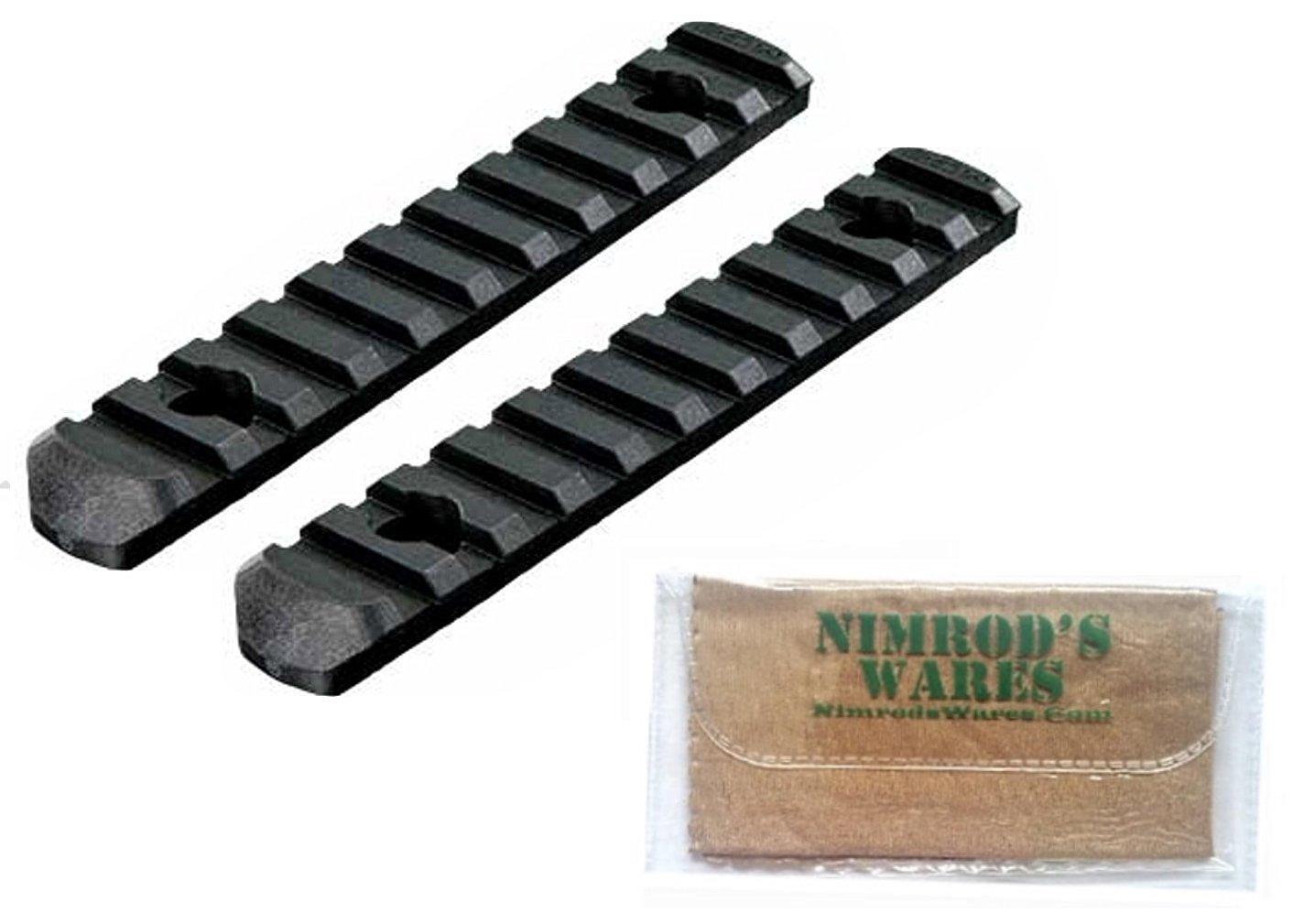 2-PACK MAGPUL MOE Polymer Rail Sections 11-Slots (L5) MAG409-BLK + Nimrod's Wares Microfiber Cloth