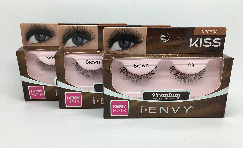 9aad11621b2 Get Quotations · Kiss i-Envy Premium Human Hair False Strip Eyelashes 3 PAIR  Brown 08(KPEB08