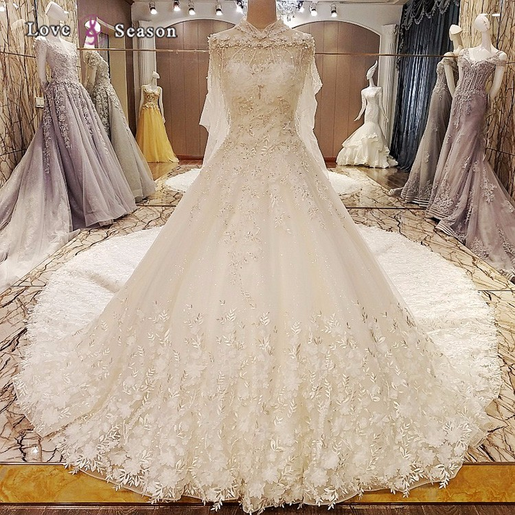 Ls60983 White High Neckline Handmade Flower Train Large Brocade ...