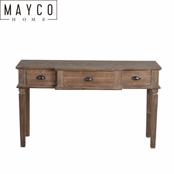 Mayco Farmhouse Style Chinese Classic Three Drawer wooden Side Console Table