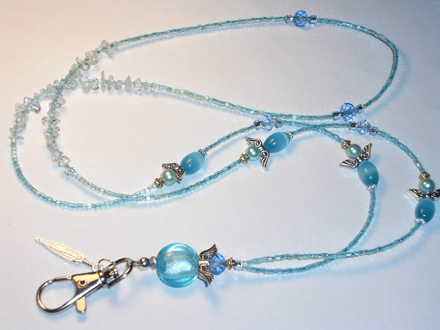 Blue Beaded Lanyard Guardian Angels ID Badge Key Chain Clip Choose length 32-38 inches