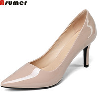 Asumer DX-381D307 fashion top quality spring autumn new pointed toe women patent leather high heels shoes