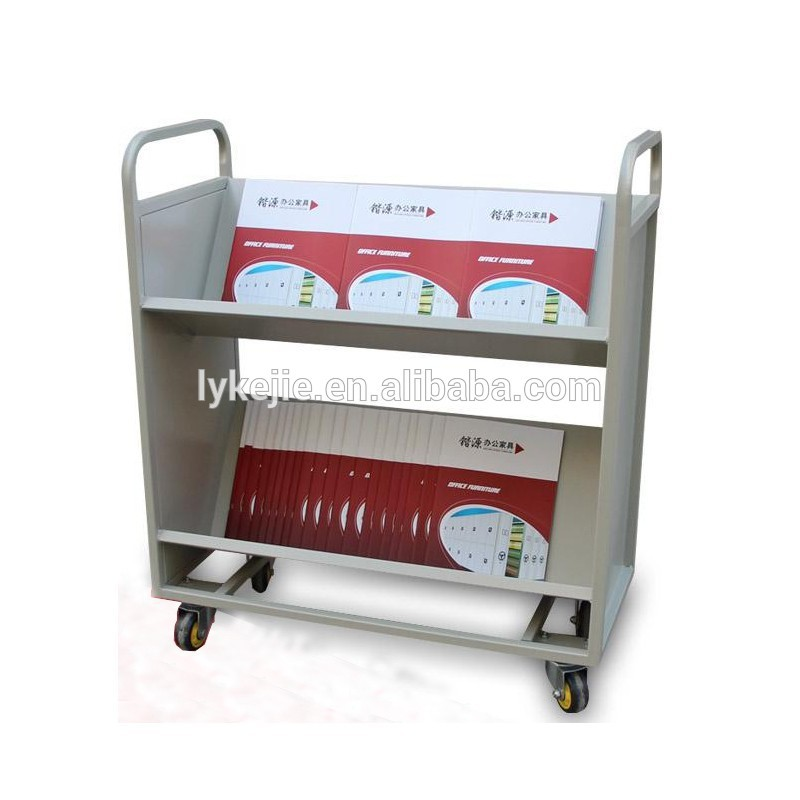 Library Book Carrier Acrylic Metal Cart With Wheels