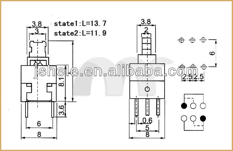 Self-Locking Switch 5.8*5.8 7*7 8*8 8.5X8.5MM 10Pcs Non-Self-Locking Switch