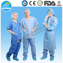 Hospital Disposable surgical Uniform SMS Nonwoven Pajamas with CE & ISO Certificate