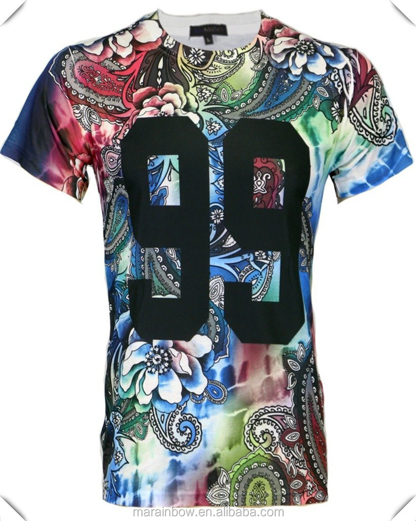 100 Polyester Dry Fit Mens Sublimation Printed T Shirt With Floral