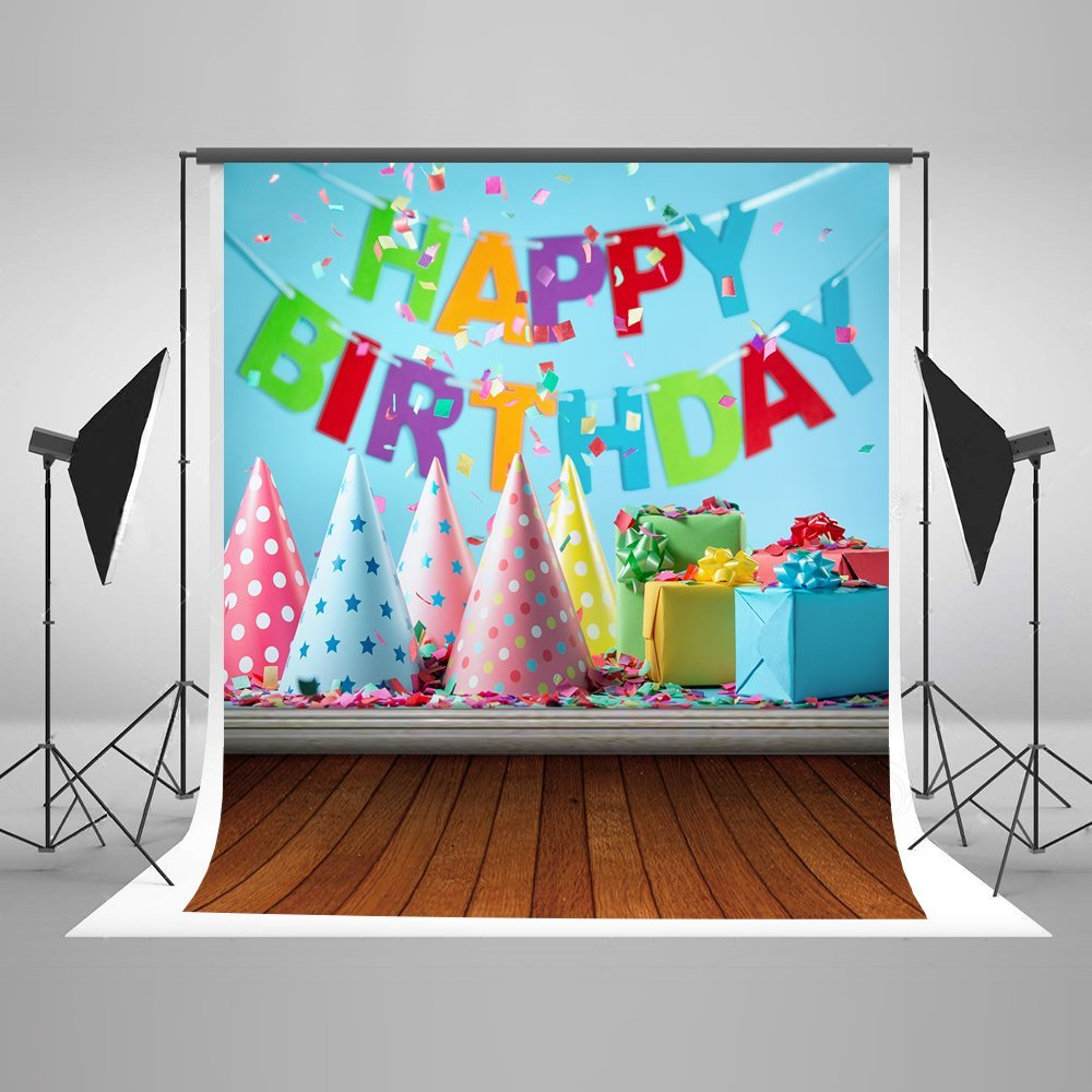 Kate 5ft(W) x7ft(H) Birthday Photography Backdrops for Baby Microfiber No Wrinkle Blue Cake Smash Photography Background