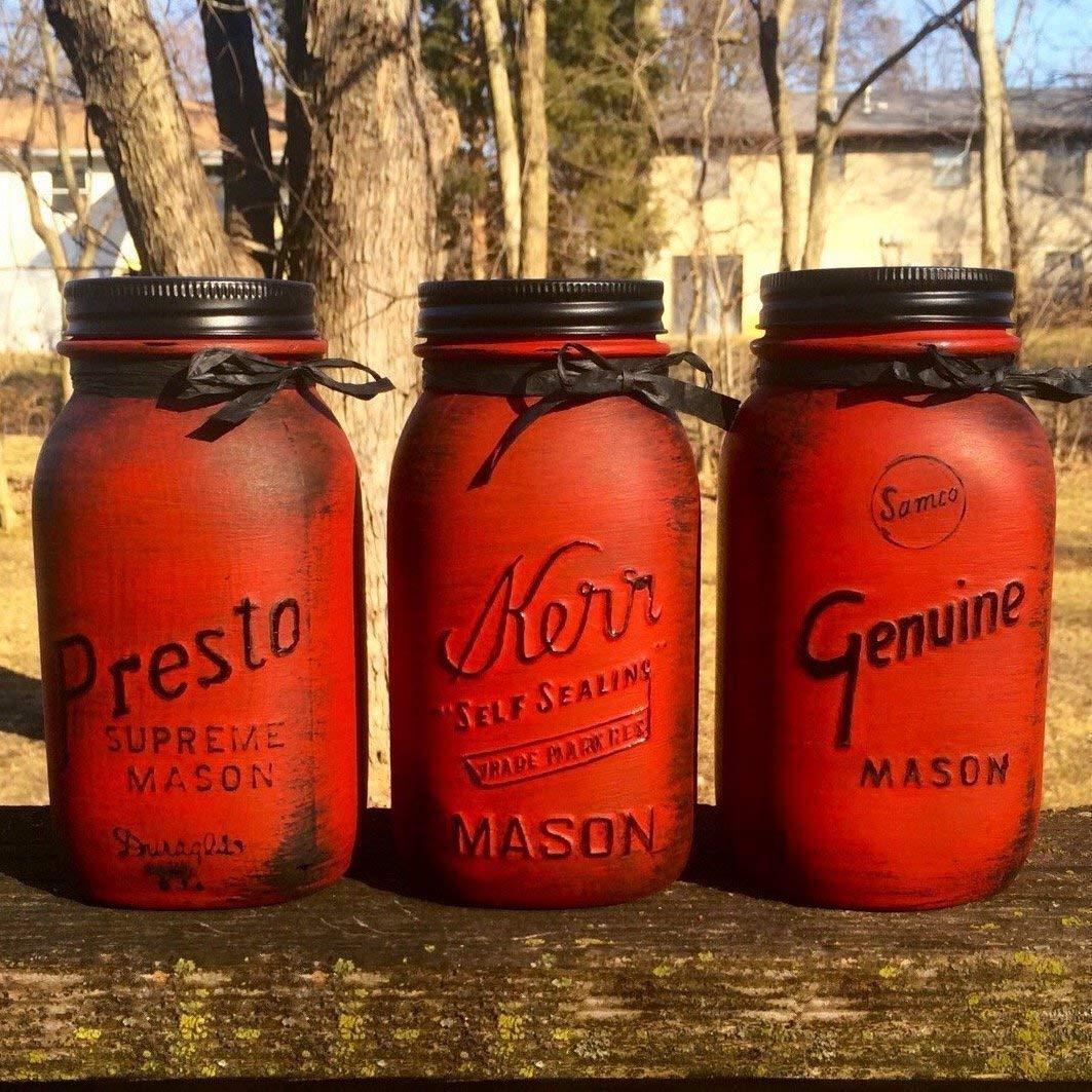 Rustic Red Vintage Mason Jar Canister Set, Rustic Mason Jar Centerpiece, Rustic Red Canisters