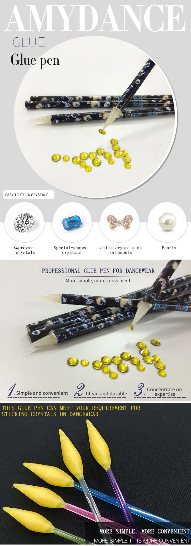 Professionele eenvoudige handig schoon duurzaam kristallen vloeibare lijm pen voor heldere kristallen steentjes glitters