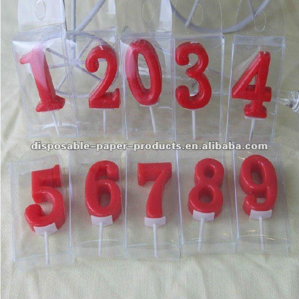Wholesale Red Birthday Number Candle 1 2 3 4 5 6 7 8 9 0 Cake Topper Candles Solid Color Partyware Party Supplies