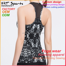Polyester spandex fabric mesh panel custom workout wholesale women gym shirts tank tops