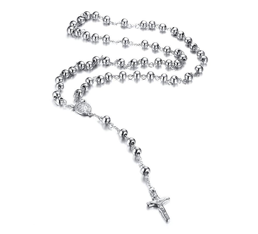 Necklace Opeof Women Catholic Jesus Cross Rhinestones Rosary Beads Pendant Necklace Jewelry Black