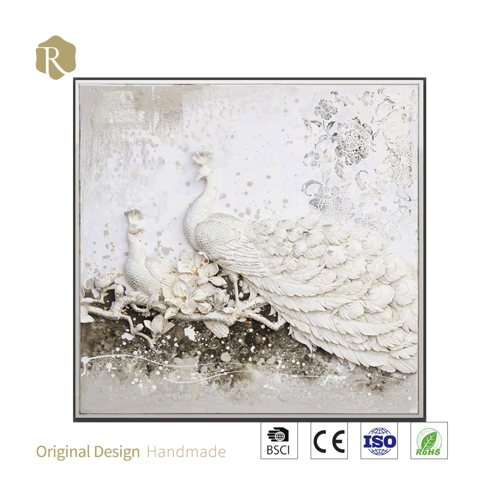100% handmade 3D art Elegant white peacock oil painting resin relief wall art
