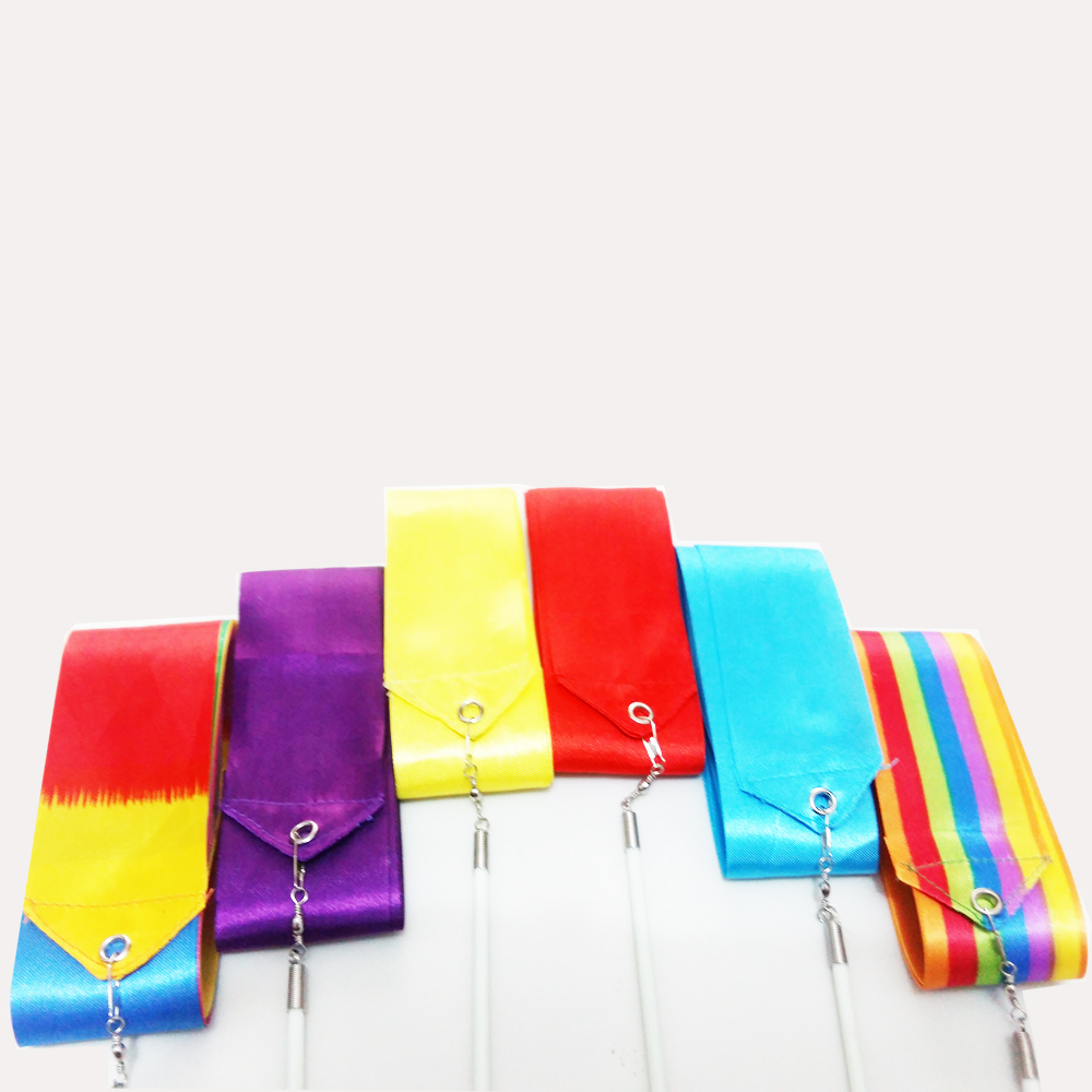 Pure Hand Knitted Chinese Silk Rhythmic Gymnastics Dance Ribbons On Wholesale