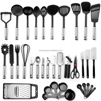 wholesale food preparation plastic handle nylon /silicone kitchen utensils set