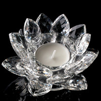 Colorful crystal lotus flower candle holder religious antique