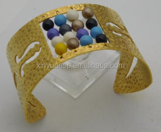 Square embedded colorful beads fahion charming bangle