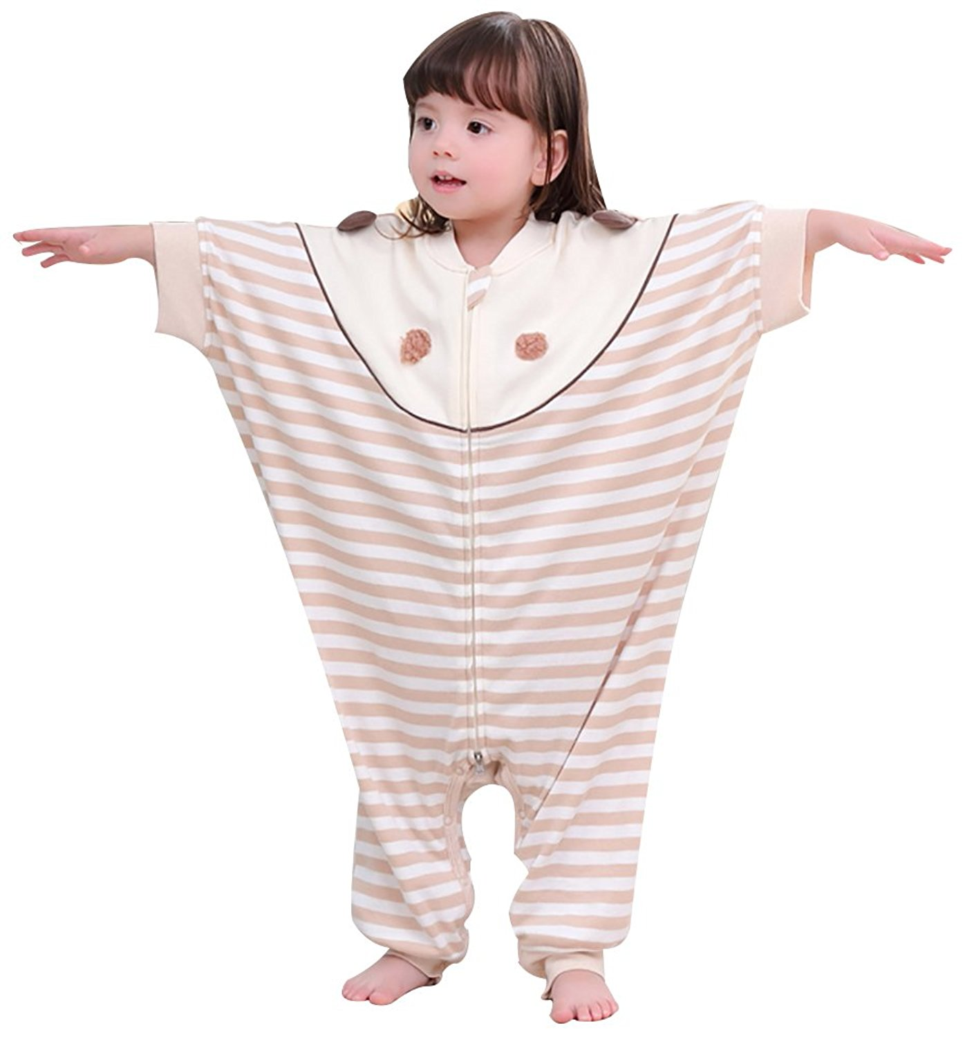bf72bd5970 Get Quotations · Luyusbaby Sleeping Bag Organic Cotton Bat Sleeve Baby  Wearable Blanket with Feet
