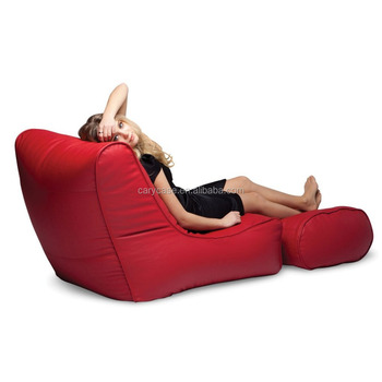 Back Support Red Stylish Bean Bag Chair With Footstool Luxury Beanbag Leather Set