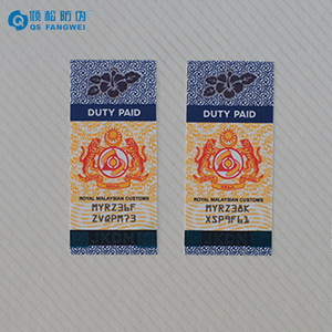 Custom Hot Stamping Hologram Alcohol Cigarette Tax Stamp, Holographic Tax Paid Sticker