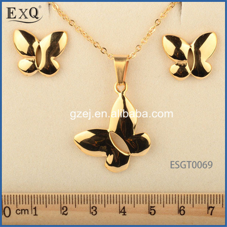 Charming Butterfly Imitation Gold Plated Jewellery Sets